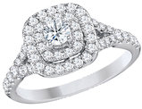 Diamond Double Halo Engagement Ring 9/10 Carat (ctw) in 14K White Gold