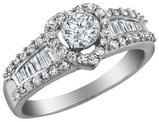 Diamond Heart Engagement Ring 1.0 Carat (ctw) in 10K White Gold