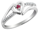 Ruby Heart Promise Ring with Diamonds 1/10 Carat (ctw) in Sterling Silver