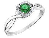 Emerald Ring with Diamonds in 10K White Gold