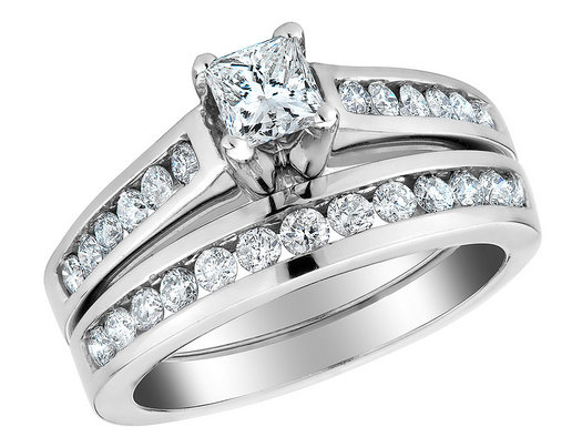 Princess Cut Diamond Engagement Ring and Wedding Band Set 1/2 Carat (ctw) in 10K White Gold
