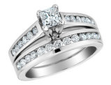 Princess Cut Diamond Engagement Ring and Wedding Band Set 1/2 Carat (ctw) in 10K White Gold