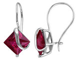Princess Cut Created Ruby Earrings 4.20 Carat (ctw) in 10K White Gold
