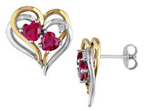 Created Ruby Heart Earrings 2.40 Carat (ctw) with Diamond in Sterling Silver with Yellow Plating