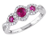 Three Stone Created Ruby Ring 2/3 Carat (ctw) with Diamonds in 10K White Gold
