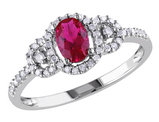 Created Ruby Ring with Diamonds in 10K White Gold