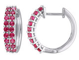 Created Ruby Huggie Hoop Earrings 1.10 Carat (ctw) in Sterling Silver