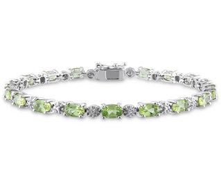 Peridot Bracelet 8.80 Carat (ctw) with Diamonds in Sterling Silver
