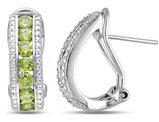 Peridot Channel Set Earrings 1.80 Carat (ctw) in Sterling Silver