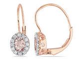 Morganite and Diamond 1/2 Carat (ctw) Earrings in 10K Rose Gold