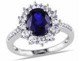 Created Blue and White Sapphire Ring with Diamonds 3.90 Carat (ctw) in Sterling Silver