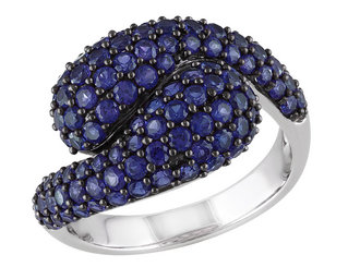 Created Blue Sapphire Ring 2.75 Carat (ctw) in Sterling Silver