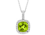 Peridot Pendant Necklace with Diamond Accent 1 3/4 Carat (ctw) in Sterling Silver with Chain