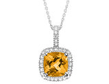Citrine Pendant Necklace with Diamond Accent 1.50 Carat (ctw) in Sterling Silver with Chain