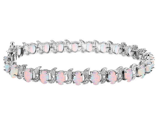 Created Opal Bracelet with Diamonds 6.0 Carat (ctw) in Sterling Silver