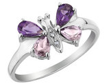 Purple and Pink Amethyst Butterfly Ring with Diamonds 7/10 Carat (ctw) in Sterling Silver