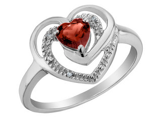 Garnet Heart Ring with Diamonds 2/5 Carat (ctw) in Sterling Silver