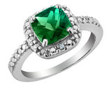 Created Emerald and Diamond Ring 2.0 Carat (ctw) in Sterling Silver