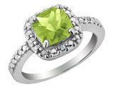Peridot and Diamond Ring 2.0 Carat (ctw) in Sterling Silver