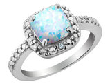 Created Opal and Diamond Ring 2.0 Carat (ctw) in Sterling Silver