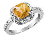 Citrine and Diamond Ring 2.0 Carat (ctw) in Sterling Silver