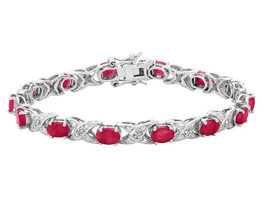 Ruby Bracelet 2.90 Carat (ctw) in Sterling Silver