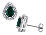 Created Emerald Earrings and Created White Sapphire 5.45 0 Carat (ctw) with Diamond in Sterling Silver