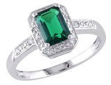 Created Emerald 1.0 Carat (ctw) Ring with Diamonds in Sterling Silver