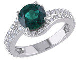Created Emerald and Created White Sapphire Ring 2.20 Carat (ctw) with Diamond in Sterling Silver
