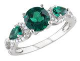 Created Emerald Rings 2 1/6 Carat (ctw) with Diamonds in Sterling Silver