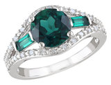 Created Emerald Ring 2.10 Carat (ctw) with Diamonds in Sterling Silver