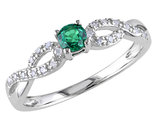 Created Synthetic Emerald Infinity Ring with Diamonds 1/5 Carat (ctw) in Sterling Silver