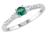 Created Emerald and Created White Sapphire 1/4 Carat (ctw) Ring with Diamonds in Sterling Silver