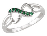 Emerald Infinity Ring 1/7 Carat (ctw) in Sterling Silver