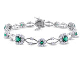 Lab Created Emerald and Created White Sapphire 6.75 Carat (ctw) Bracelet in Sterling Silver
