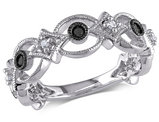 Black and White Diamond Ring 1/6 Carat (ctw) in Sterling Silver