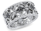 Black Diamond Ring 1/3 Carat (ctw) in Sterling Silver