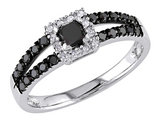 Black and White Princess and Round Diamond Ring 1/2 Carat (ctw) in 10k White Gold