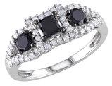 Black and White Three Stone Diamond Ring 1.0 Carat (ctw) in 10k White Gold