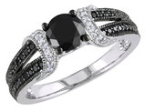 Black and White Diamond Ring 1.0 Carat (ctw) in 10k White Gold