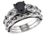 Black Diamond Engagement Ring and Wedding Band Set 1.23 Carat (ctw) in 10k White Gold