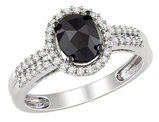 Black and White Oval and Round Diamond Ring 1.0 Carat (ctw) in 14k White Gold