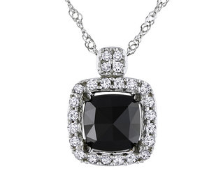 Black and White Diamond Cushion Cut Diamond Pendant Necklace 1.0 Carat (ctw) in 14k White Gold