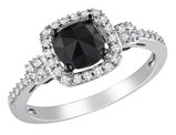Black and White Cushion Cut Diamond Ring 1.0 Carat (ctw) in 14k White Gold