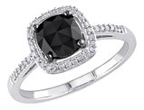 Black and White Cushion and Round Diamond Ring 1.0 Carat (ctw) in 14k White Gold