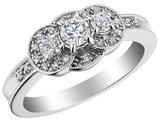 Three Stone Diamond Engagement Ring 1/2 Carat (ctw) in 10K White Gold