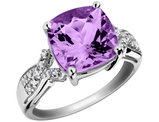 Purple Amethyst Ring with Diamonds 4.5 Carat in Sterling Silver