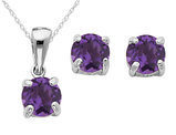 Amethyst Earrings and Pendant Set 2/5 Carat (ctw) in Sterling Silver with Chain