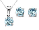 Created Aquamarine Earrings and Pendant Set 2/5 Carat (ctw) in Sterling Silver with Chain