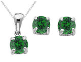 Created Emerald Earrings and Pendant Set 2/5 Carat (ctw) in Sterling Silver with Chain